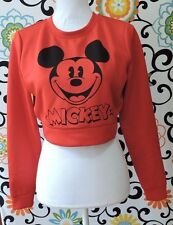 Forever 21 Disney Collection Red Mickey Mouse Crop Sweater Size S