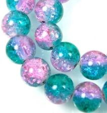 8mm Czech Glass Crackle Cracked Round Beads - Teal / Pink (50) 15.5""