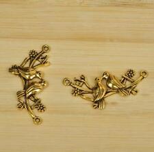 15pcs Tibet silver antique gold yellow two birds love charm beads pendant 45MM