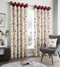 Fusion Beechwood Floral Leaf 100% Cotton Fully Lined Eyelet Curtains Red