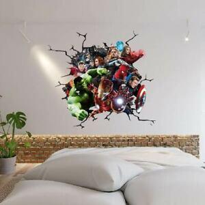 MARVEL AVENGERS SMASH THROUGH WALL STICKER VINYL ART DECAL 3D EFFECT DECOR