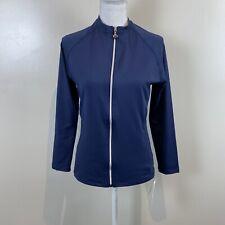 Tactel Private Island Hawaii Uv Protection Jacket Top Zip Blue 3/4 Sleeve