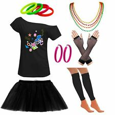 Ladies Off Shoulder I Love 80s  T Shirt Tutu Skirt Set Party Accessories 6399