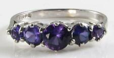 ENGLISH 9K 9CT WHITE GOLD AFRICAN AMETHYST ETERNITY ART DECO INS RING FREE SIZE