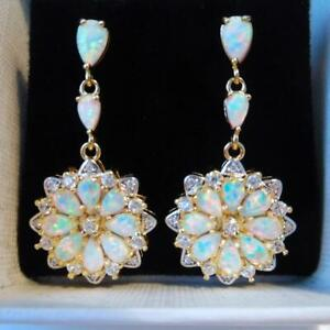 (YGE11) GORGEOUS WHITE  FIRE OPAL  YELLOW GOLD    STUD  EARRINGS