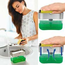 2 in1 cocina líquido jabón bomba dispensador ABSsoporte de esponja prensa encime