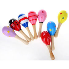10X Colorful Wooden Maraca Baby Child Musical Instrument Rattle Shaker Party Toy