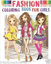 Fashion Beauty Adult Colouring Book Kids Teens Gift Hair Style Clothes Outfits