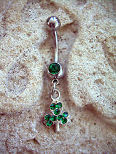 Belly Button Navel Ring GREEN  CZ 14g BR11 Lucky Shamrock Irish St Patricks Day