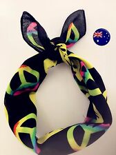 Women Girl Yellow Smile Peace Symbol Party Bandana Hair Headband Wrap Scarf