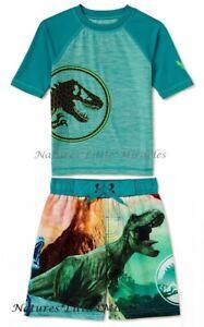 Jurassic World Size 14-16 XL Boys Swim Trunks Rash Guard Shirt Swimsuit Set Park