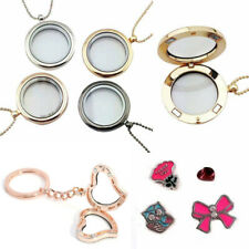 Crystal Floating Charms Living Memory Glass Locket Pendant Necklace Keyring Gift