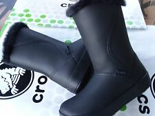 CROCS COLOR LITE MID BOOT FUR LINED~WINTER PUFF FREESAIL SNOW SHOE~Black~W 7~NWT