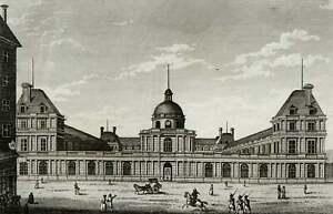 1818 Antique view of PARIS, LUXEMBOURG PALACE. France. Palais du Luxembourg.