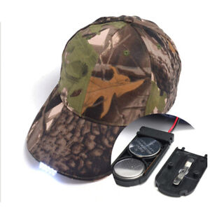 Camouflage Baseball Cap with 5 LED Light Hat Fishing-Camping Outdoor Hiking