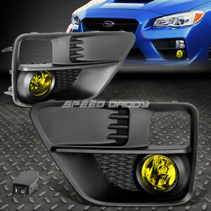 FOR 15-17 SUBARU WRX STI AMBER LENS BUMPER DRIVING FOG LIGHT LAMP W/BEZEL+SWITCH