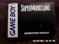 Super Mario Land (Gameboy) GB Instruction Manual Booklet Only... NO GAME