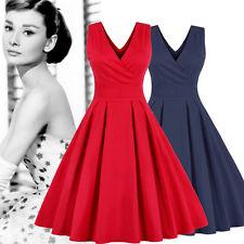 Womens Retro Audrey Hepburn Swing Dress 50s Rockabilly Party Dress Plus Size L