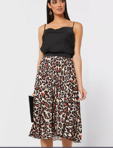 Womens pleated skirt Mixed print Brown Tan 8-14 John Zack