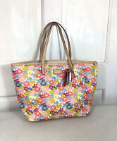COACH Large Leather Floral Tote Carryall Bag