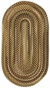 "Capel Rugs ""Bangor"" Wool Variegated Country Braided Oval Rug Amber Gold #100"