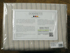 DORMISETTE Queen size flannel sheet set NEW luxury cotton/linen GREY STRIPES