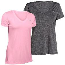 Polyester V Neck Basic T-Shirts for Women