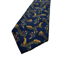 Salvatore Ferragamo Mens Neck Tie Leopard Floral Print 100% Silk Made In Italy