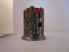 Vintage Metal Santa Claus Ruby Glass Candle Holder