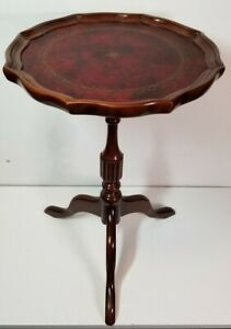 """Vintage Bombay 20"""" Leather Topped Pedestal Plant Stand, Excellent Condition!!"""