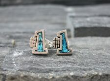 Southwestern 925 Sterling Silver Turquoise Mosaic Number #1 Baby Stud Earrings
