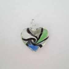 30mm Handmade Lampwork Pendants, Heart, Mixed 1pcs
