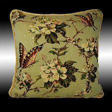 GREEN VINTAGE BUTTERFLY TAPESTRY BOTH SIDES CUSHION COVER THROW PILLOW CASE 17""