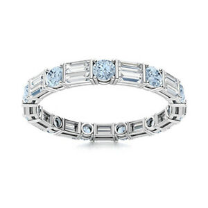 4 MM Round Aquamarine & Baguette CZ 925 Sterling Silver Wedding Stackable Ring