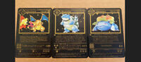 Pokemon Base Set 1st Ed Charizard Blastoise Venusaur . Black Metal Cards (set)