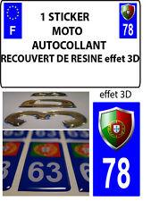 1 sticker plaque immatriculation MOTO TUNING 3D RESINE  BLASON PORTUGAL DEPA 78