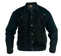 New Mens Superb Quality Denim Trucker Jacket Black