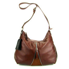 MONTINI Italian Made Natural Brown Leather Crossbody Shoulder Bag with Zipper