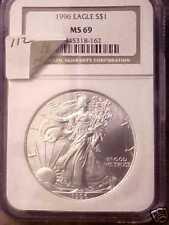 1996 Silver Eagle Dollar  NGC Coin MS 69   1 OZ Silver