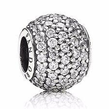 Original PANDORA charm bead 791051cz pavè bala clara circonita plata 925