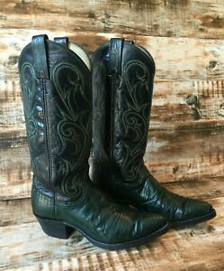 Dan Post green lizard western boots cowgirl black size 6.5M - excellent