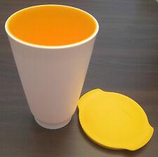 Tupperware C 158 Allegra 450 ml Cup Becher mit Deckel Orange / Weiß Neu OVP