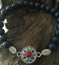 Natural Blue Lapis Lazuli Coral Agate Jasper Turquoise Bracelet Crystal Healing