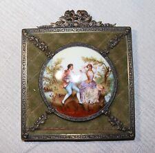 antique ornate gilt bronze hand painted porcelain velour mini painting wall art.