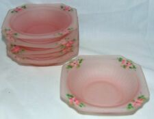 "6 Hocking MAYFAIR/OPEN ROSE PINK*FROSTED SATIN *5 1/2"" CEREAL BOWLS *w/FLOWERS"