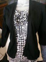 August Silk Cardigan Tank Top Black Silver Metallic Sweater SZ S 3/4 Sleeve