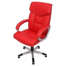 Chaise de bureau - faux cuir - 113-123x67x60cm rouge