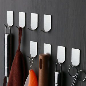 8PCS Self Adhesive Home Kitchen Wall Door Stainless Steel Holder Hook Hanger