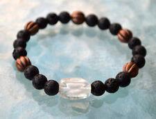 Black Basalt Lava Stone Nirvana Quartz Wrist Mala Beads Bracelet - Fertility