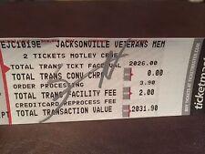 Nikki Sixx Motley Crue Signed Autographed ticket receipt The Final Tour
